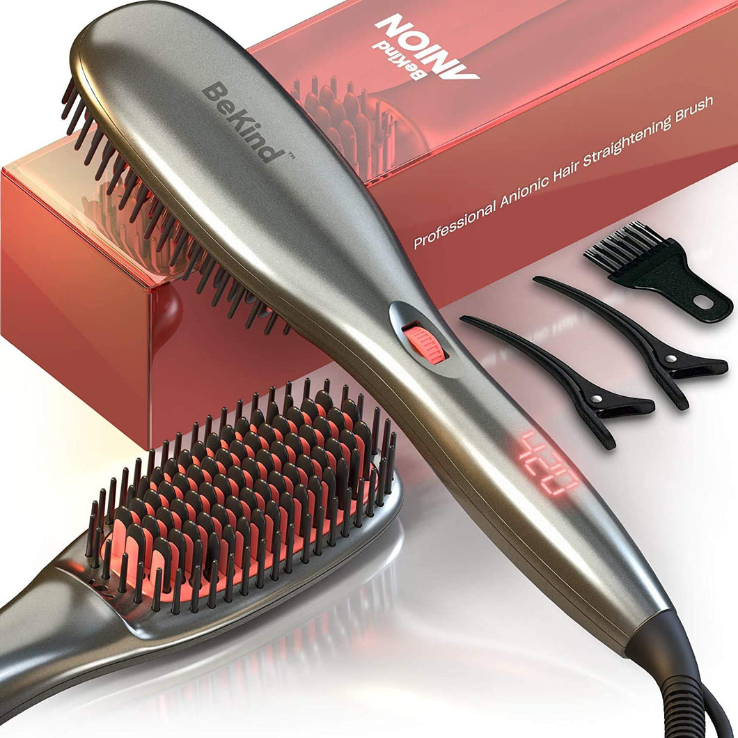 30-IN-1 BeKind Anion Hair Straightener Brush, Built in Upgraded Anion Feature, 15s Fast