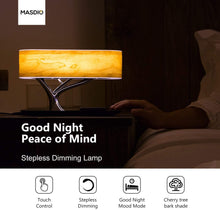 Bedside Lamp with Bluetooth Speaker and Wireless Charger.
