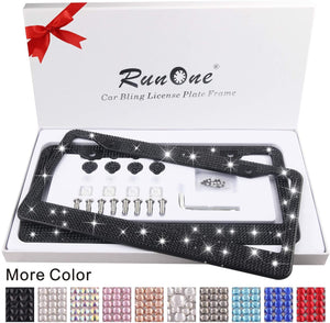 2 Pack AB Crystal License Plate Frame for Women Luxury Rhinestone | Black