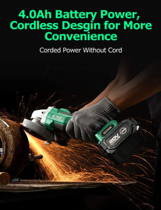 20V Brushless Cordless Angle Grinder Equipped with 4.0Ah Lithium-Ion Battery & Fast Charger