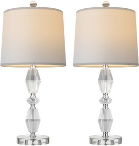 "Crystal Table Lamp Set of 2 for Bedroom 22.5""."