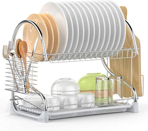 Dish Drying Rack, iSPECLE 2 Tier Dish Rack with Utensil Holder