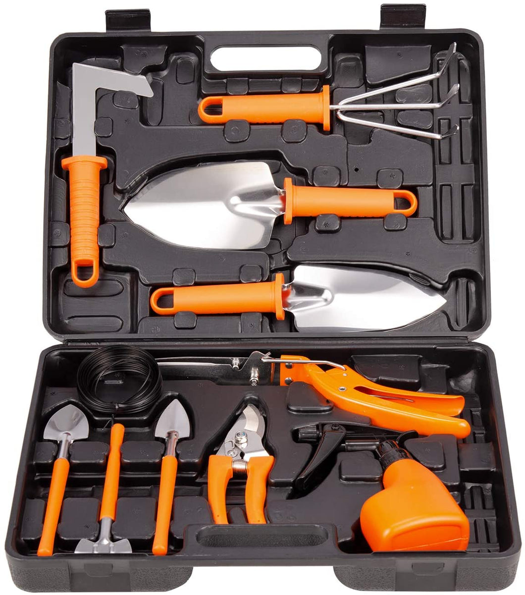 12 Piece Gardening Gifts Stainless Steel Garden Tool Set with Storage case.