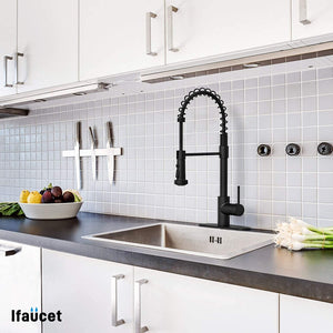 Black Kitchen Faucet with Pull Down Sprayer, 19.75-Inch Spring Faucet