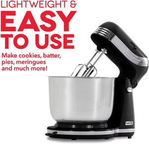 Dash Stand Mixer (Electric Mixer for Everyday Use): 6 Speed Stand Mixer with 3 qt Stainless Steel Mixing Bowl