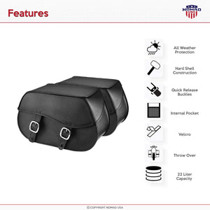 Nomad USA Extra-Large Universal Reinforced Armor Synthetic Black Leather Throw Over Motorcycle Saddlebags