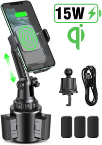 15W Qi Fast Wireless Cup Holder Air Vent Phone Mount