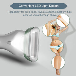 Legs and Underarms Rechargeable Wet and Dry Painless Cordless with LED Light, Green