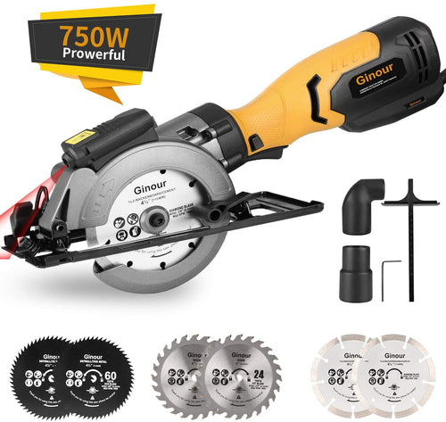 Mini Circular Saw, 6 Blades, for Wood, Tile, Backerboard, Cement, Drywall.