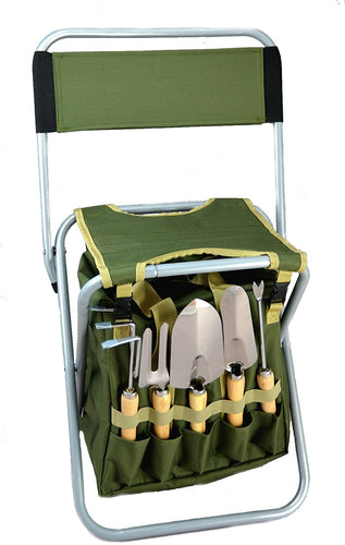 10-Piece Gardening Tool Set with Zippered Detachable Tote and Folding Stool Seat.