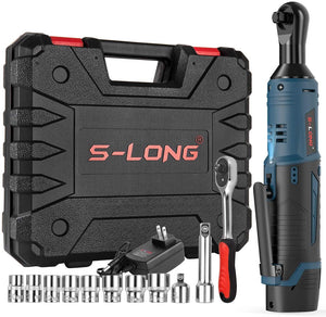 S-LONG Cordless Electric Ratchet Wrench Set,12V Power Ratchet Driver with 10 Sockets, and 60-Min Fast Charge,