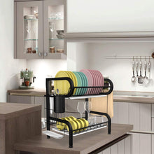 Drying Rack Dish| Mamgai Black 2 Tier Dishes Rack for Kitchen