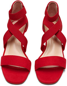 DREAM PAIRS Women's Elastic Ankle Strap Low Wedge Sandals/Red Size: 5