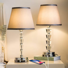 Lifeholder Bedside Lamp, Exquisite Crystal Lamp with Dual USB Ports