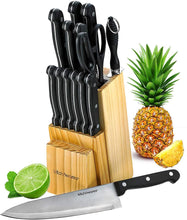 Knife Set With Wooden Block - 15 Piece Set Includes Chef Knife, Bread Knife,