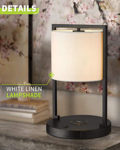 LMS Wireless Charger Table Desk Lamp with USB Port and Power Outlet