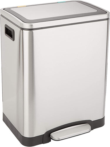C-10049FM-30L Trash can, 2 x 15L, Brushed Stainless Steel