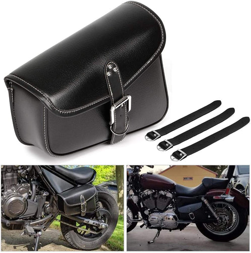 Motorcycle Tool Bag Saddlebags with PU Leather Metal Buckle Black Swing Arm Bag