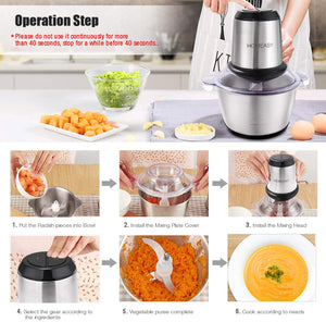 Homeasy Meat Grinder, Food Chopper 2L Stainless Steel