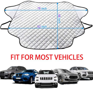 Windshield Cover for Ice and Snow with Magnetic Edge, Thicker 4 Layers Defense Snow, Ice and Frost