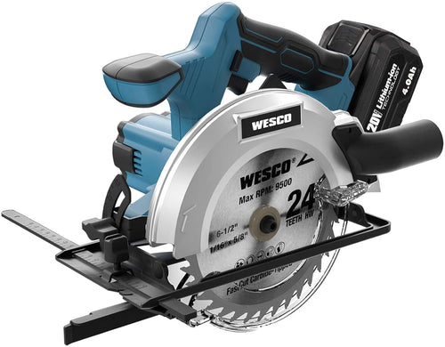 20V Cordless Circular Saw, Include 4.0Ah Battery, 2 Blade, Charger, Vacuum Adaptor.