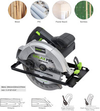 Hand-Held Circular Saw, Adjustable Cutting Depth, for Wood and Logs Cutting.