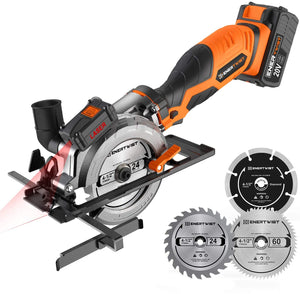"20V Max 4-1/2"" Cordless Circular Saw with 4.0Ah Lithium Battery and Charger."