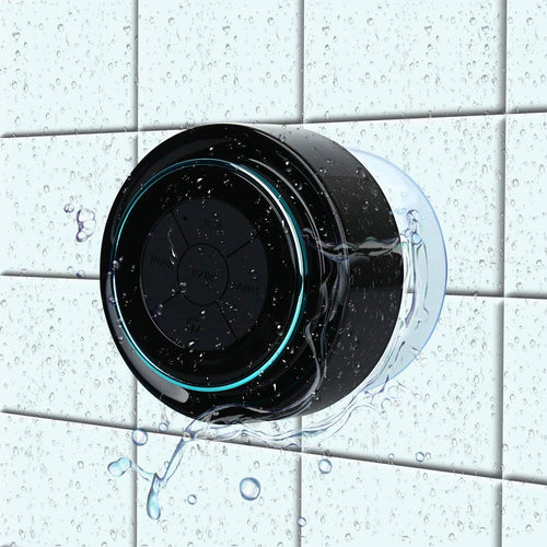 Bluetooth Shower Speakers, HAISSKY Portable Wireless Waterproof Speaker with FM Radio & Suction Cup, Pair black/orange
