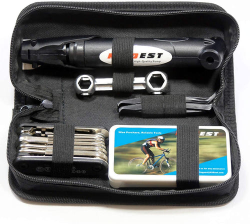 Emergency All in One Bicycle Repair Tool Kit w/ Tire Pump & Store Pouch.