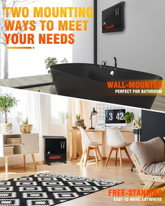 1500W Infrared Space Heater, Wall Mount or Freestanding