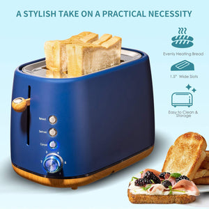 Kichele Toaster 2 Slice Wide Slot with Removable Crumb Tray