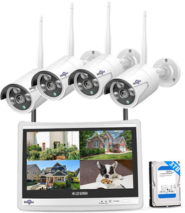 "12"" LCD Monitor Wireless Security Camera System, Night Vision Waterproof,3TB Hard Drive."