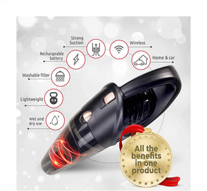 Hand-Held Vacuum Cleaner, 12v Portable Cordless Vacuum with Car & Wall Rechargeable Lithium-ion