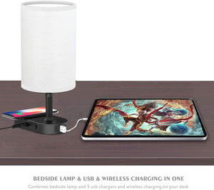 Bedside Table & Desk Lamp with Wireless Charging Pad.