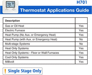 Programmable Electronic Thermostat, Up To 1 Heat/1 Cool, with 4.5 sq. Inch.