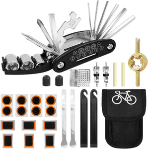 16 in 1 Bike Multifunction Tool with Patch Kit & Tire Levers
