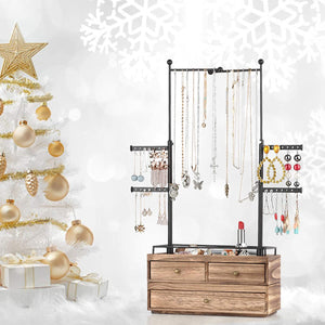 2 Layer Wooden Jewelry Drawer Storage Box with 6 Tier Jewelry Tree Stand.