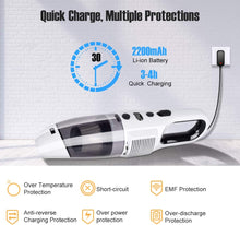 Portable Lightweight Rechargeable Wet Dry Cyclonic Suction Hand Vacuum with Power Display for Home Pet Hair Car Cleaning