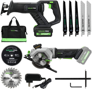 Reciprocating Saw and Circular Saw Combo Kit with One Charger, 7 Saw Blades and Tool Bag.