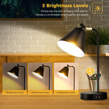 Industrial Dimmable Desk Lamp with 2 USB Charging Ports AC Outlet