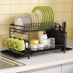 Dish Drying Rack, 1Easylife 2 Tier Large Kitchen Dish Rack with Removable