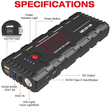 Car Battery Starter, 1500A Peak 21800mAh 12V Portable Auto Car Battery Charger Jump Starter Battery Pack with USB Quick Charge 3.0, Type-C