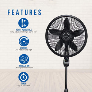 18″ Remote Control Cyclone Pedestal Fan with Built-in Timer