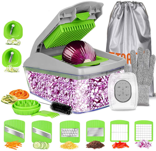 FITNATE 14 in 1 Vegetable& Food Chopper Slicer Dicer, 8 Blades, Onion Chopper