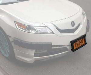 Automobile Front Bumper Guard Shock Absorbing Flexible License Plate Frame Protection System