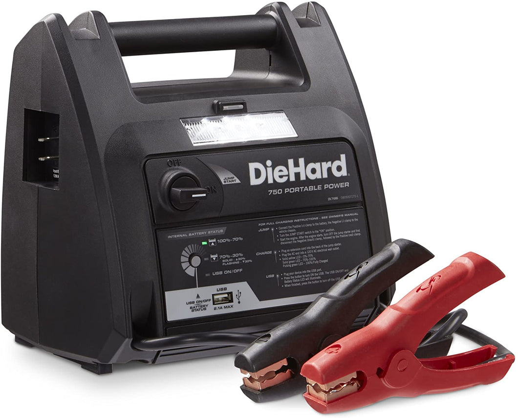 DieHard 71686 750 Peak Amp Jump Starter with USB and 12V Portable Power Ports