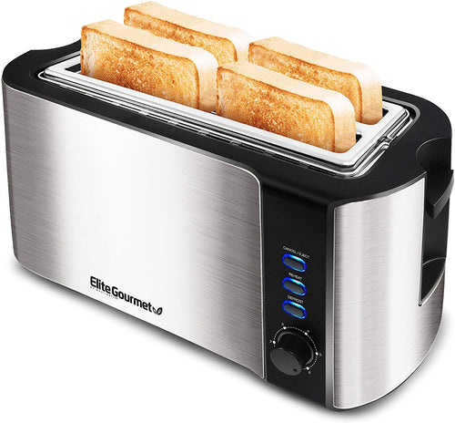Elite Gourmet ECT-3100 Maxi-Matic 4 Slice Long Toaster with Extra Wide 1.5