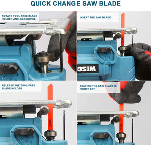Cordless Jigsaw Tool,4 Orbital Setting for Woodworking,10pcs Saw Blade.