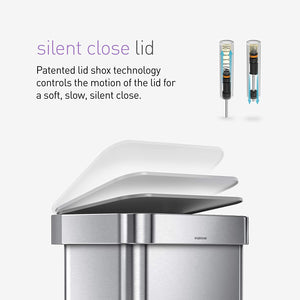 simplehuman 45 Liter Rectangular Hands-Free Kitchen Step Trash Can with Soft-Close