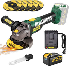 Brushless Cordless Angle Grinder 20V MAX,with 4.0Ah Lithium-ion Battery,3-Position Auxiliary Handle, Fast charger.
